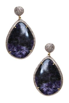 Pave Diamond Freeform Sliced Sapphire Drop Earrings