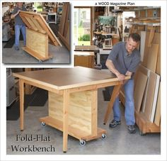 diy shop table | Fold-Flat Workbench