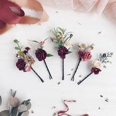 Burgundy Flower Bobby pins, Deep red flower bobby pins, Set of 5, Fall burgundy flower headpiece, Fall deep red hair pins, Flower hair pins by SERENlTY on Etsy https://www.etsy.com/listing/544955457/burgundy-flower-bobby-pins-deep-red