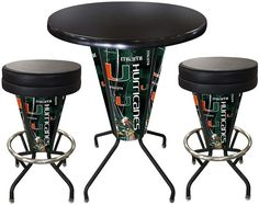 Miami Hurricanes D1 Black Lighted Pub Table Set. Two additional Stools are optional. Visit SportsFansPlus.com for details.