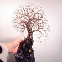 Uruguay Amethyst Geode Crystal cluster wire Tree by CrowsFeathers, $493.00