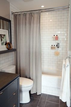small bathroom ideas. subway tile on wall, slate on floor. Nice dimensions with dark floor and light wall.