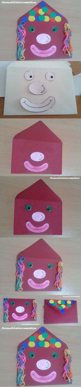 Manualidadesconmishijas: Original sobre de payaso para el #empqtdbonito. card… Collage, Diy, Kids Rugs, Club, Crafty, Clowns, The Originals, School, Creative