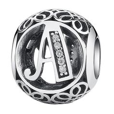 Authentic 925 Sterling Silver Vintage A to T, Clear CZ Alphabet Letter Beads Fit Charms Bracelets PSC008