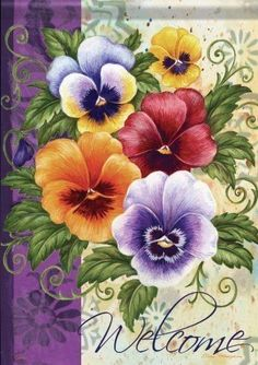 Welcome Pansy Flag One Stroke Painting, Tole Painting, Fabric Painting, Art Floral, Flower Prints, Flower Art, Vintage Seed Packets, Vintage Diy, Flower Pictures