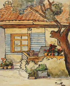 Tefik's Yard (in Mangalia) - Nicolae Tonitza House Quilts, Post Impressionism, Art Database, Sculpture, Painting Inspiration, Lovers Art, Home Art, Art History, Vintage World Maps