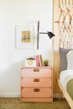Love this DIY! I am totally doing this for our room but instead of painting pink, I'd like to stain it a dark brown // Leather and Brass Campaign IKEA Rast Hack - Vintage Revivals