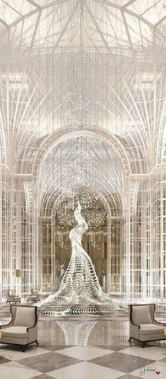 Silver Interior of the Chanel Hotel Built by Karl Lagerfeld