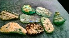 Ancient Roman glass shards double drilled medium high end