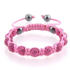 Pink bead Shamballa on pink cord with hematite end beads.