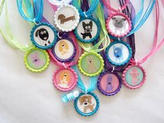 Puppy Party includes 12 bottle caps and necklaces and one SPECIAL birthday girl necklace with beads. $50.00, via Etsy.