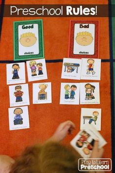 First Week Centers and Circle Time Good Choices - Bad Choices Behavior Sorting Activity - Play to Learn Preschool Preschool First Week, 3 Year Old Preschool, Preschool Rules, First Week Activities, 3 Year Old Activities, Circle Time Activities, Preschool Centers, Preschool Learning, Preschool Activities