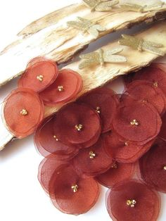 Fabric flower appliques, organza flower embellishments, fabric ornaments (15pcs)- RUST BROWN