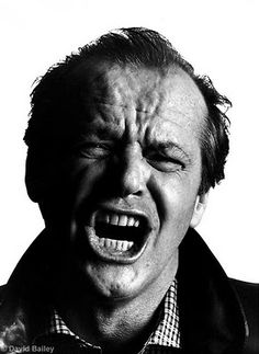 Picture of Jack Nicholson, an actor probably most well known for his role in 'The Shining', taken by David Bailey. Jack Nicholson is screaming. I imagine he was told to do this to outline the types of roles he usually played in films. Jack Nicholson, Famous Photographers, Portrait Photographers, Black And White Portraits, Black And White Photography, David Bailey Photography, C G Jung, Vogue Magazin, Portrait Studio