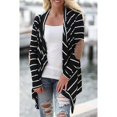 Wholesale Casual Collarless Striped Long Sleeve Cardigan For Women Only $7.62 Drop Shipping | TrendsGal.com