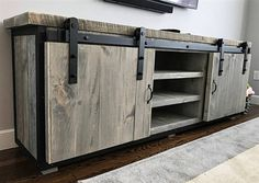 Rustic Industrial Barn Board Media Stand w/ Sliding Doors - This stunning reclaimed wood entertainment center has been crafted from genuine grey weathered roug - Diy Barn Door, Sliding Barn Door Hardware, Sliding Doors, Diy Door, Door Hinges, Rustic Industrial Furniture, Distressed Furniture, Industrial Bedroom, Industrial Shelving