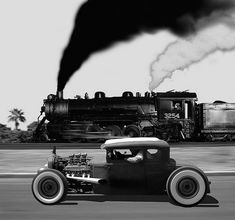 Hot-Rod vs Train... hot rod all the way