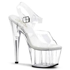 Pleaser Clear Sexy Shoes 7 Inch Stiletto Heel Platforms with Ankle Straps Pole Dancing Stripper Shoes Strappy Platform Heels, High Heels Stilettos, Stiletto Heels, Sexy Heels, Pumps, 7 Inch Heels, Stripper Heels, Clear Heels, Prom Heels