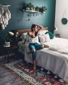 Forest Green Bedrooms, Green And White Bedroom, Green Bedroom Walls, Bedroom Colors, Forest Bedroom, Dream Bedroom, Home Bedroom, Master Bedroom, Bohemian Bedroom Decor