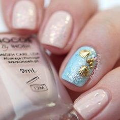 Beach Nails with Sea Shell Studs by Paulina's Passions