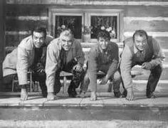 The Cartwrights from Bonanza-(L-R) Pernell Roberts (Adam); Lorne Greene (Ben){He was a Canadian from Ottawa}; Michael Landon (Little Joe) and Dan Blocker (Eric 'Hoss' Cartwright) They are getting ready to meet the Chicago Bears Pernell Roberts, Lorne Greene, Bonanza Tv Show, Michael Landon, American Series, Tv Westerns, Old Shows, Le Far West
