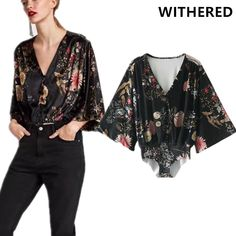 Aliexpress.com : Buy Withered new bodysuit bohemian floral and plant printing kimono flare sleeve v neck loose bodysuit women plus size body feminino from Reliable bodysuit plus suppliers on Withered Store