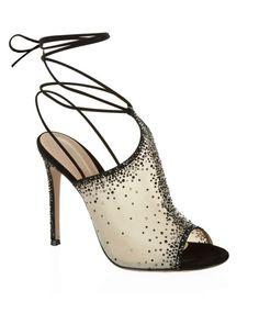 Gianvito Rossi | Black Embellished Sheer Sandals | Lyst