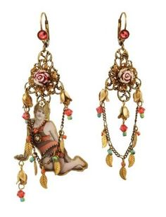 Michal Negrin Original Asymmetric Earrings Designed with Formatted Metal Print Ornament Adorned with Vintage Roses and Swarovski Crystals: Michal Negrin: Jewelry