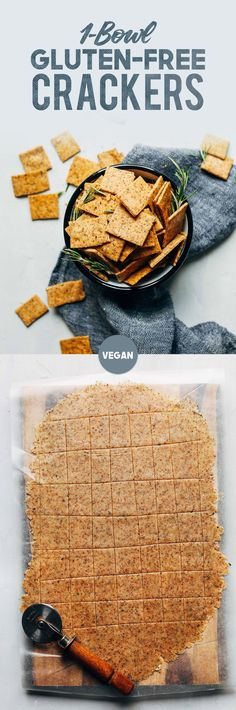 EASY Vegan Gluten-Free Crackers! 7 Ingredients, 1 Bowl, SUPER crispy and delicious! #vegan #glutenfree #crackers #rosemary #snack #recipe #minimalistbaker