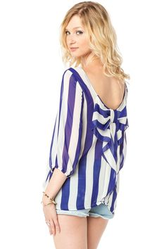 Chiffon Coletta Bow Blouse in Striped Royal / ShopSosie #Blue #White #Striped #Chiffon #Bow #Blouse #ShopSosie