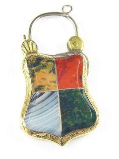 Wonderful Antique Scottish 15K Gold Agate Shield Locket Bracelet Clasp Pendant | eBay