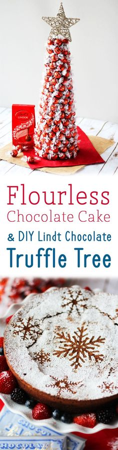 This decadent Lindt Flourless Chocolate Cake and DIY Chocolate Truffle Tree will become instant hits at your holiday party!