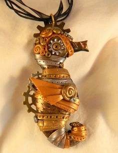 Steampunk Seahorse Metallics Necklace Polymer by SteampunkCellars