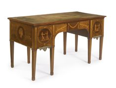 A FINE GEORGE III INLAID HAREWOOD, SATINWOOD AND FRUITWOOD MARQUETRY WRITING TABLE ATTRIBUTED TO CHRISTOPHER FUHRLOHG CIRCA 1775