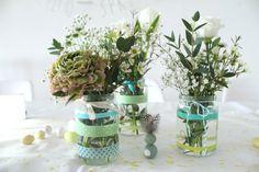 Taufe Junge Deko DIY Idee Geschenkidee Blumen Tischdeko Jules kleines Freudenhaus