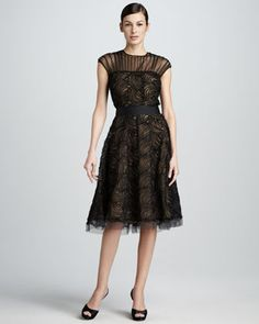 Illusion-Neck Lace Cocktail Dress by Tadashi Shoji at Neiman Marcus.