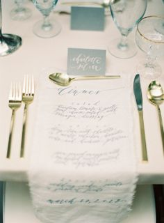 print your menu on linen so your guests can also use them as napkins. looks nice and is also pretty practical