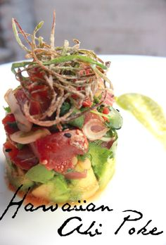 Ahi Tuna Poke. Been lookin' for a recipe for this since I got back from Kauai. Yum.