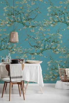 Almond Blossoms Peel 'n Stick or PrePasted Wallpaper Removable Wallpaper, Prepasted Wallpaper, Decor, Wall Covering, Removable Wallpaper, Wall, Feature Wall, Easy Install, Home Decor