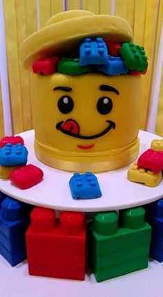 Cake and cookies at a Lego birthday party! See more party ideas at CatchMyParty.com!