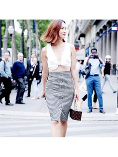 Prettiest Instagrams of the Week: Nicole Warne white bra crop top and checked skirt