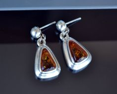 Amber Earrings Baltic Amber Earrings Sterling Silver by LKArtChic