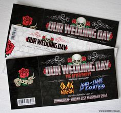 skulls and roses rock n roll wedding invites