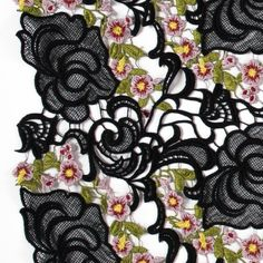 Black Floral Embroidered Guipure Lace Fabric by the Yard | Mood Fabrics