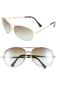 Vince Camuto 65mm Aviator Sunglasses available at #Nordstrom - green lens with gold frame