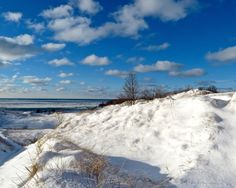 Sky, Lake Michigan, Snow, Landscape, Wall Art, Home Decor, Great Lakes, Warren Dunes, Fine Art Print, Ice, Winter, Clouds, Blue, Photography by GreatLakesViews on Etsy