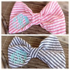 Monogram Hair Bows! I wore a bow in my hair everyday when I was little!! So of course my little girl will too!