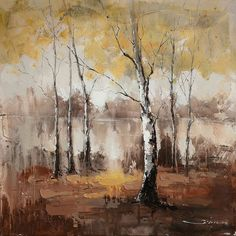 """Universal Lighting and Decor Autumn Mist 40"""" Square Abstract Canvas... ($183) ❤ liked on Polyvore featuring home, home decor, wall art, art, backgrounds, autumn, fall, brown, birch tree wall art and autumn home decor"""