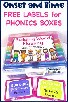 FREE Label Kit for Onset and Rime Building Word Fluency Activities for a great worksheet alternative! These phonics games are for teaching your students to decode words into onset and rimes during guided reading small group time, reading interventions, or literacy centers for first grade, second grade and third grade. #phonics #decoding #guidedreading #readinginterventions #literacycenters #fluency #conversationsinliteracy #classroom #elementary