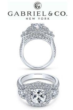 28f5d2db1 14k White Gold Cushion Cut Halo Diamond ENGAGEMENT RING  #cushiondiamondrings Wedding Rings Simple, Bridal